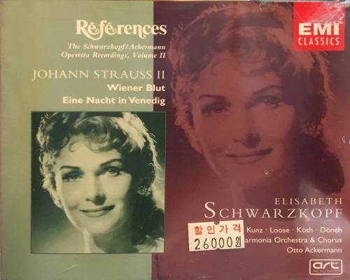 Elisabeth Schwarzkopf -  References : Johann Strauss II, Wiener Blut, Eine Nacht in Venedig [수입] [여자성악가] (케이스 손상)